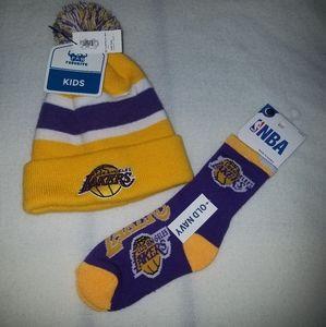 Los Angeles Lakers Beanie & Socks